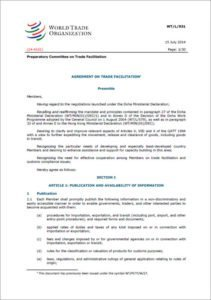 Trade facilitation agreement multilateral optional